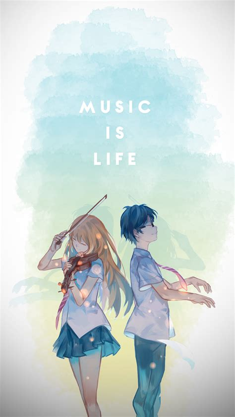 shigatsu wa kimi no uso phone wallpaper by waki ps on