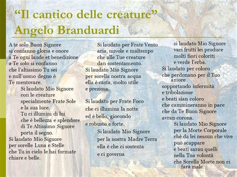 cantico di frate sole testo laudes creaturarum francesco d assisi ppt