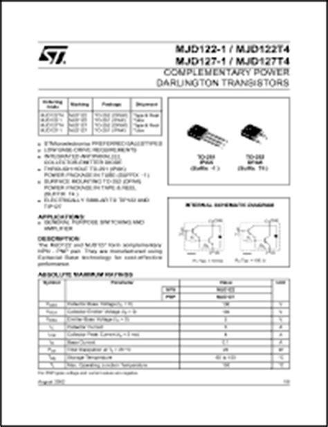 high current darlington transistor datasheet datasheet for mjd122t4 npn darlington transistor for high dc current gain 100v 5a mjd122t4