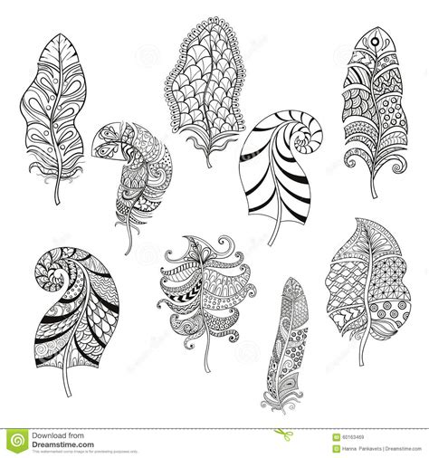 Zentangle Stylized Nine Feathers For Coloring Page. Stock