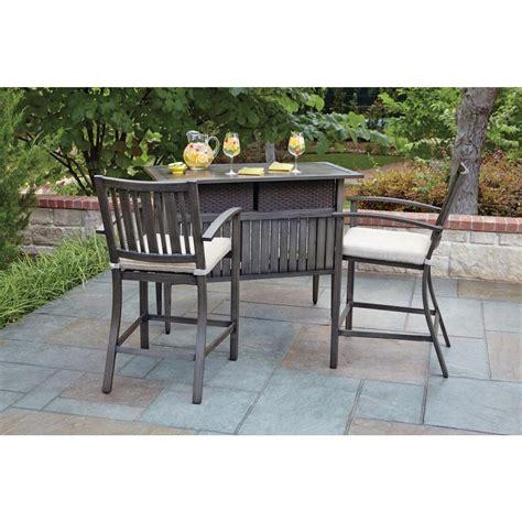 woodard lancaster 3 aluminum wood look patio bar set