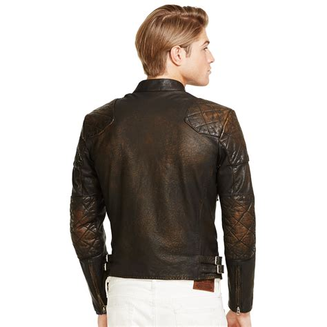 Ralph Leather polo ralph leather caf 233 racer jacket in brown for lyst