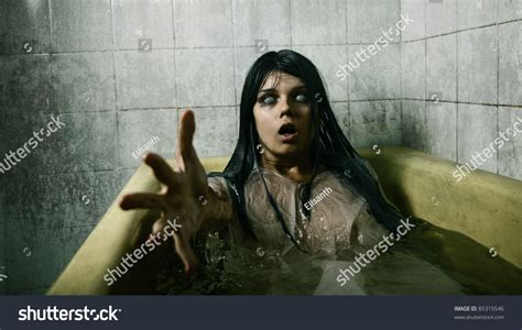 scary bathtub scary girl bath stretching her hand stock photo 85315546 shutterstock