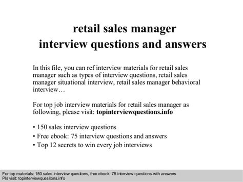 retail sales manager questions and answers