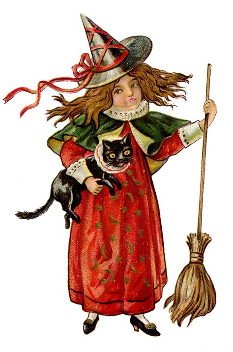 haunted house 2 doll clip antique image witch with cat the