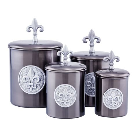 stainless steel fleur de lis finials canister set kitchen 4pc tuscan silver new ebay old dutch international 1730 antique pewter fleur de lis