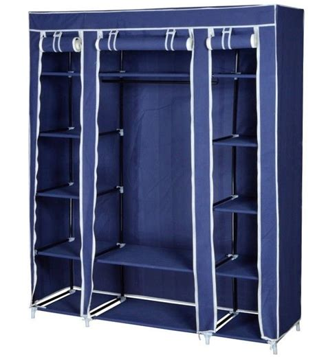 wardrobe clothes rack with shelves blue 56 portable