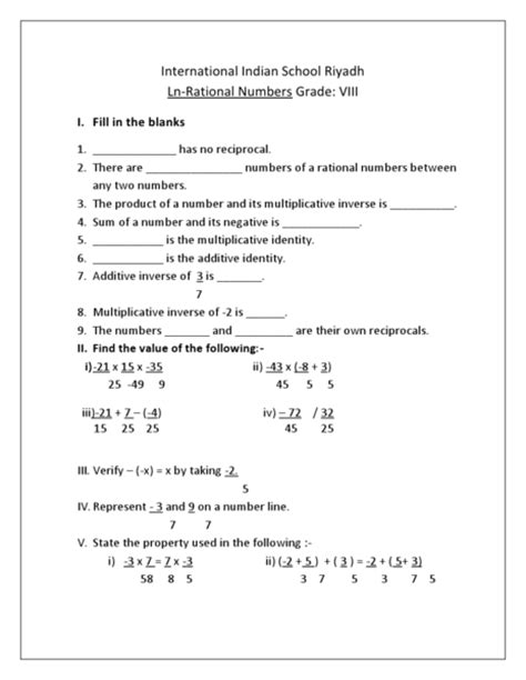 Rational Numbers Worksheets 8th Grade by Math Worksheets Rational Numbers The Rational Number
