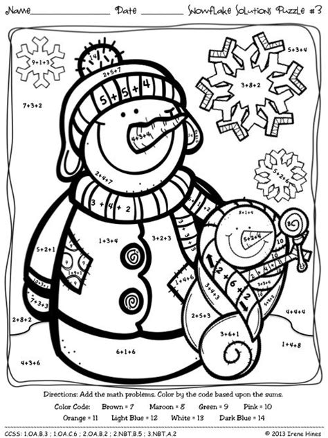 color coded coloring pages snowflake solutions math winter printables color by the