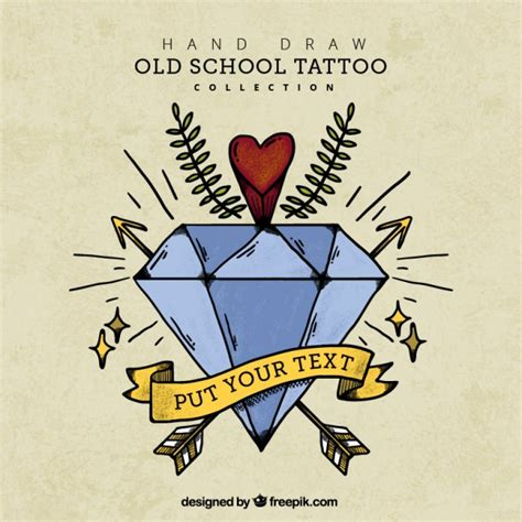 diamond tattoo vector vintage background with hand drawn diamond tattoo vector