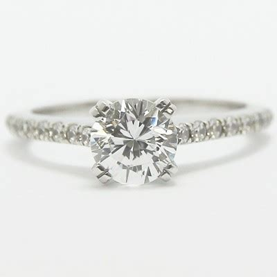 thin band pave set engagement ring 14k white gold