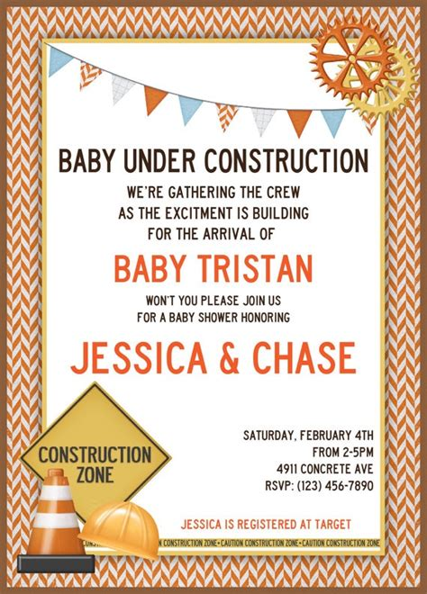 Construction Baby Shower Invitations by Printable Construction Baby Shower By