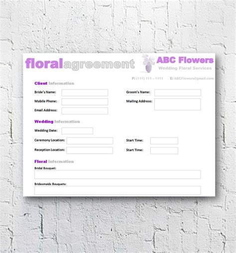 florist bridal wedding agreement floral business contract template editable printable word