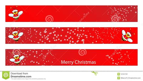 christmas web banner with a bee stock vector image 12151761