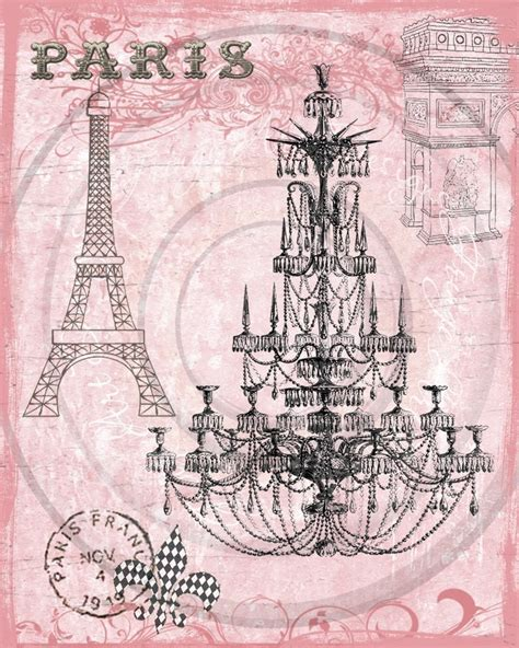 art journal layout paris paris pink chandelier french digital collage for hang tags