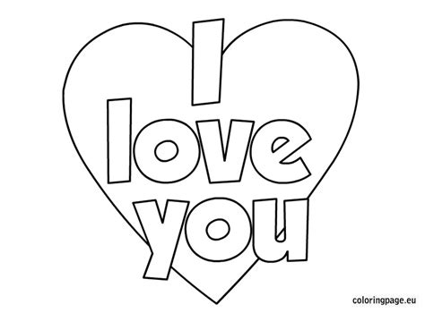 free coloring pages of i love you