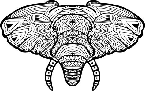 monochrome drawing bull tribal patterns on stock vector monochrome ink drawing painted elephant on