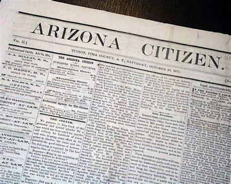 Pima County Records Tucson Az Tucson Az Pima County West Arizona Territory 1871 Newspaper