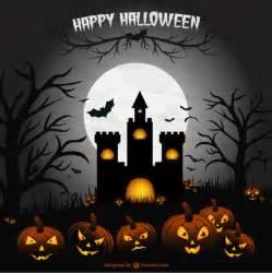 creepy halloween castle illustration scene vector free download