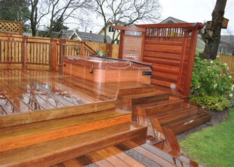 hot tub privacy fence ideas ipe deck with japenese mahogany privacy screen deck ideas