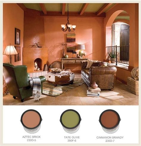 the color palette in this sunken and pueblo style den behr paints