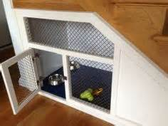 Under stairs dog kennel built in dog crate under the stairs more