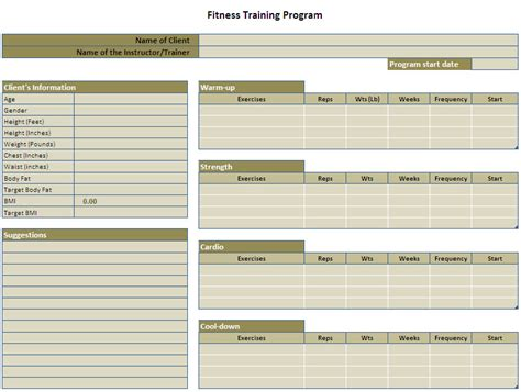 exercise program template image search results