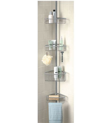Bathroom Caddies Shower Stainless Tension Pole Shower Caddy In Shower Caddies