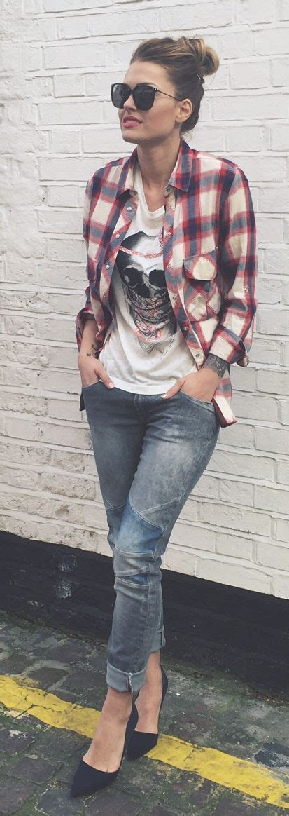 graphic tee outfits plaid shirts  graphic tees
