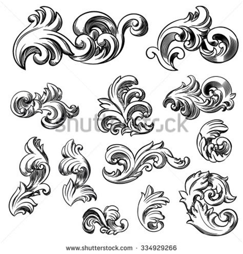 tattoo etching pattern set of vector vintage baroque engraving floral scroll