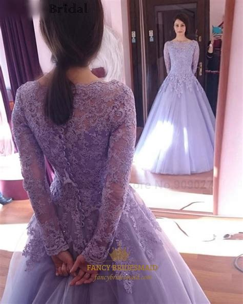 gold lace appliques long sleeves white tulle ball gowns wedding dress lavender lace applique top long sleeve tulle ball gown