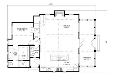 great room plans cottage style house plan 3 beds 2 5 baths 1687 sq ft plan 443 11