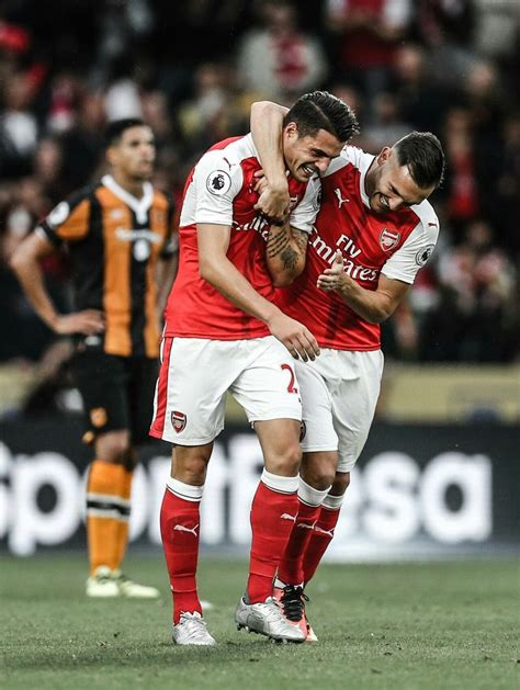 arsenal xhaka goal lucas perez congratulates granit xhaka on scoring his