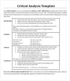 Critical Analysis Essay Exle by Analysis Essay Template 7 Free Sle Exle Format