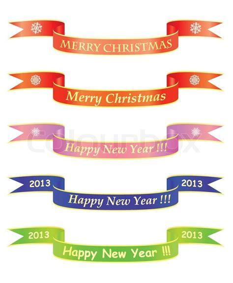 Banner Rumbai Hologram Merry Happy New Year merry and happy new year banners stock vector colourbox