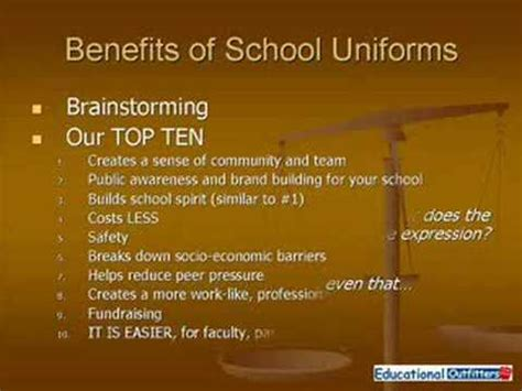Beniefits Of School Vs Mba by Pro S And Con S Of School Uniforms By Educational