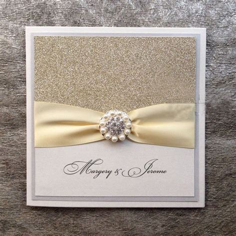 Handmade Wedding Card Ideas - silver glitter wedding invitations handmade invitations