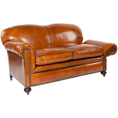 leather sofa quality quality edwardian drop arm tan leather sofa at 1stdibs