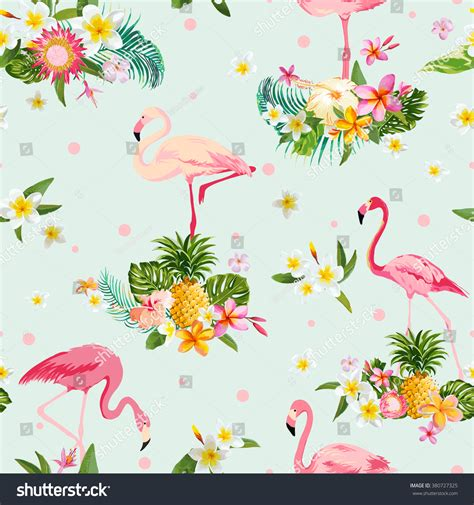 Flamingo Bird Retro Backgroundz flamingo bird tropical flowers background retro stock