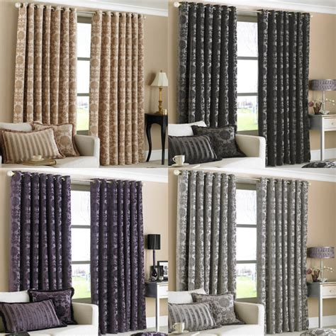 Where To Buy 90 Inch Curtains Paoletti Hanover Chenille Jacquard Lined Eyelet Curtains