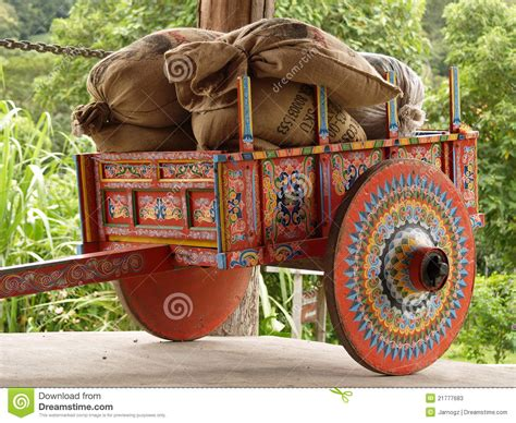 Costa Rican Ox Cart Loaded With Coffee Bags Stock Photos   Image: 21777683
