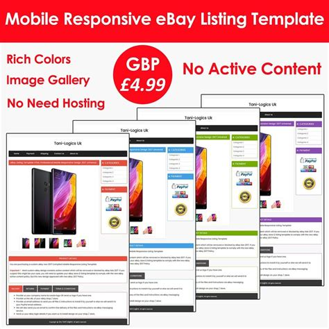 Ebay Listing Template Auction Html Professional Mobile Responsive Design 2017 Ebay Ebay Listing Templates 2017