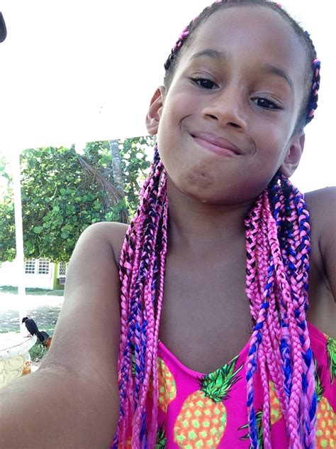 plaits for kids pink and blue mixed box braids perfect for little girls