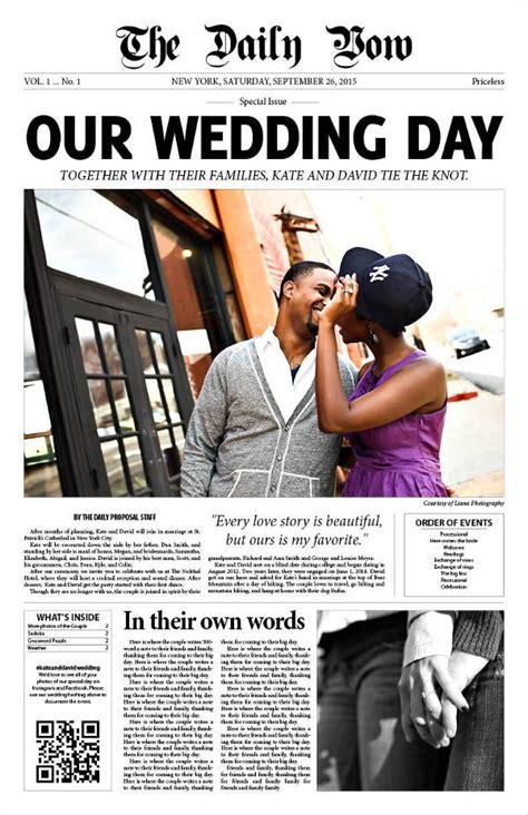wedding newspaper templates  word  psd indesign