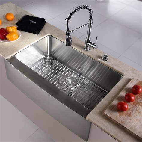 Kraus Kitchen Sink Reviews Kraus Kitchen Combo 33 Quot X 20 Quot Single Bowl Farmhouse Stainless Steel Kitchen Sink With Faucet