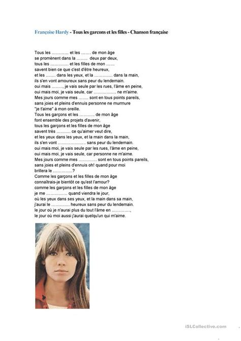 françoise hardy chansons chanson fran 231 oise hardy fiche d exercices fiches