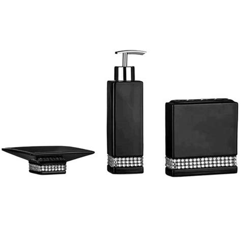 3 Piece Black Radiance Ceramic Bathroom Accessories Set at