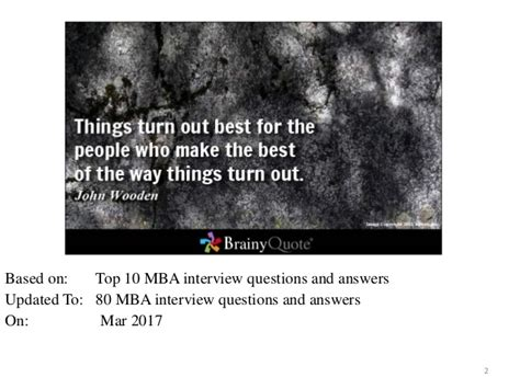 Mba Situational Questions by 80 Mba Questions And Answers