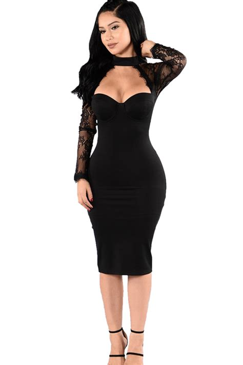womens halter lace patchwork long sleeve bodycon dress