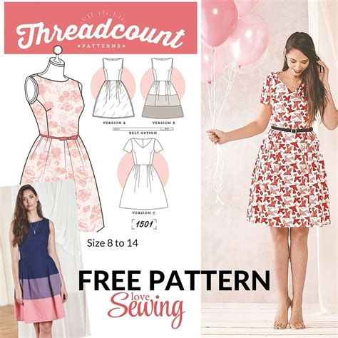 sewing pattern simple dress 187 free download threadcount 3 in 1 dress pattern